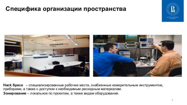 8   Специфика организации пространства Hack Space – специализированные рабочие места, снабженные измерительным инструмен...