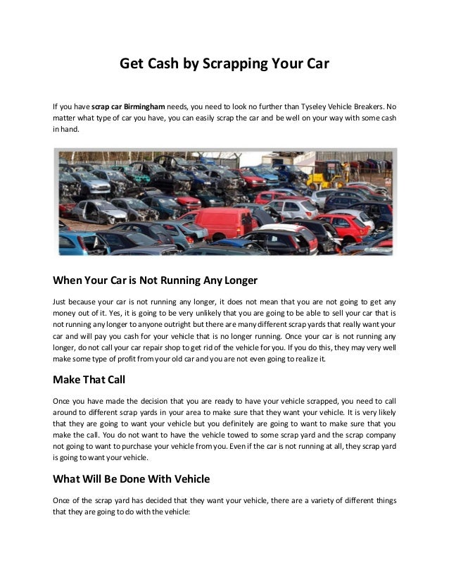 Get Cash by Scrapping Your Car