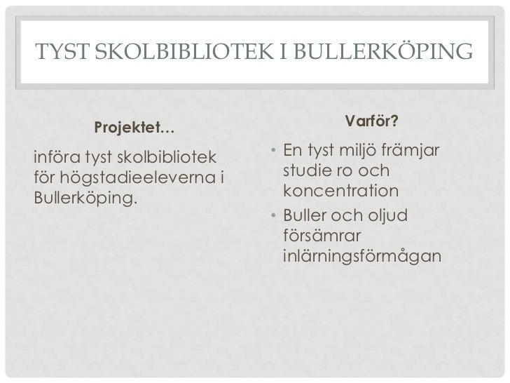 TYST SKOLBIBLIOTEK I BULLERKÖPING       Projektet…                    Varför?införa tyst skolbibliotek   • En tyst miljö f...