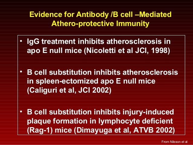 Evidence for Antibody /B cell –Mediated Athero-protective Immunity • IgG treatment inhibits atherosclerosis in apo E null ...