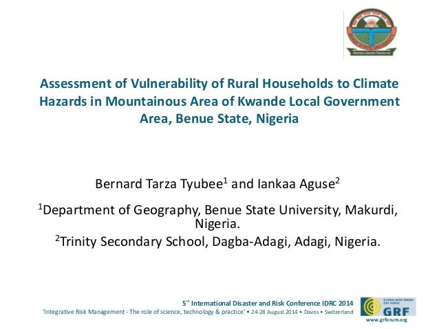 Please  add your  logo here  Assessment of Vulnerability of Rural Households to Climate  Hazards in Mountainous Area of Kw...