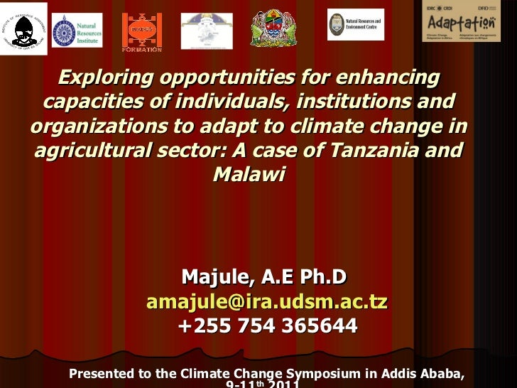 Exploring opportunities for enhancing capacities of individuals, institutions and organizations to adapt to climate change...