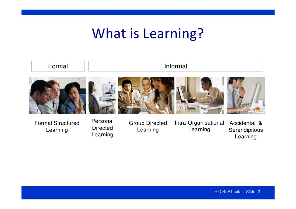 WhatisLearning?      Formal                                Informal     Formal Structured   Personal   Group Directed   ...