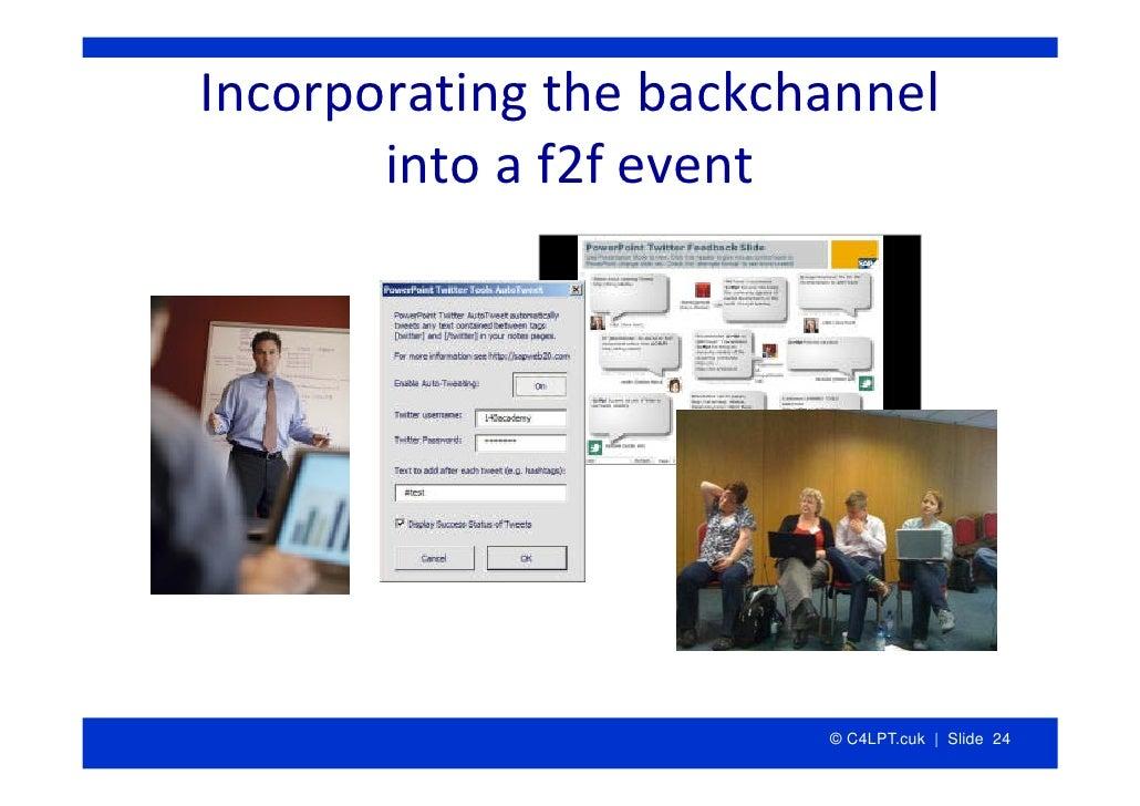 Incorporatingthebackchannel        intoaf2fevent                             © C4LPT.cuk | Slide 24