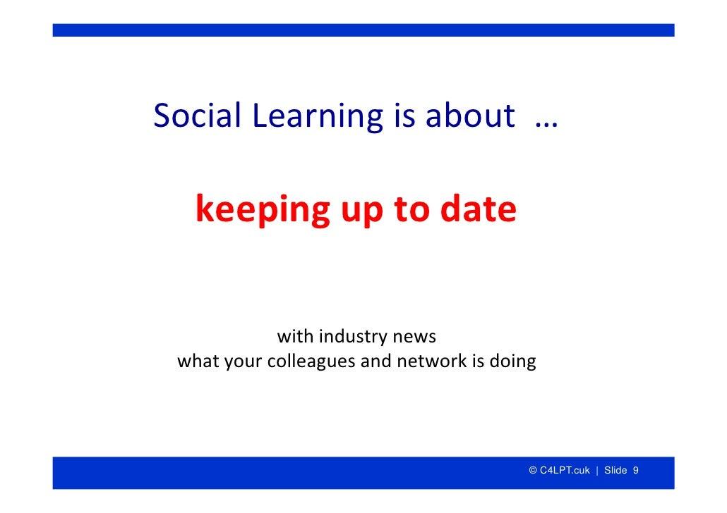 SocialLearningisabout…     keepinguptodate              withindustrynews  whatyourcolleaguesandnetworkisdo...