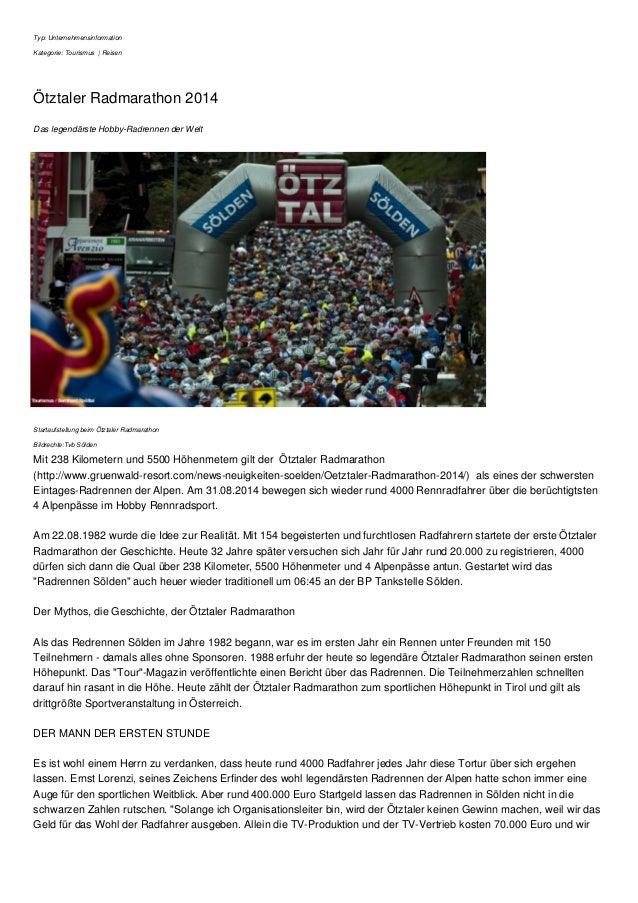 Typ: Unternehmensinformation  Kategorie: Tourismus | Reisen  Ötztaler Radmarathon 2014  Das legendärste Hobby-Radrennen de...