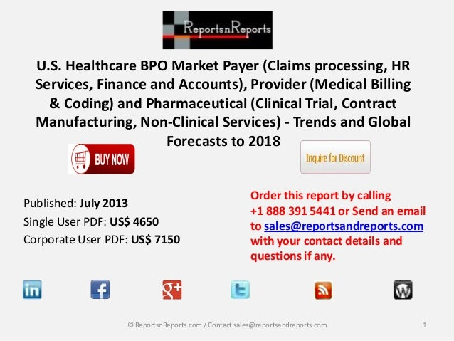 U.S. Healthcare BPO Market Payer (Claims processing, HR Services, Finance and Accounts), Provider (Medical Billing & Codin...