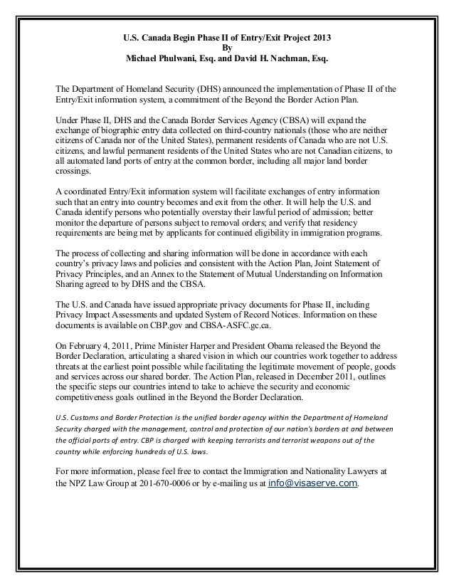 U.S. Canada Begin Phase II of Entry/Exit Project 2013 By Michael Phulwani, Esq. and David H. Nachman, Esq. The Department ...