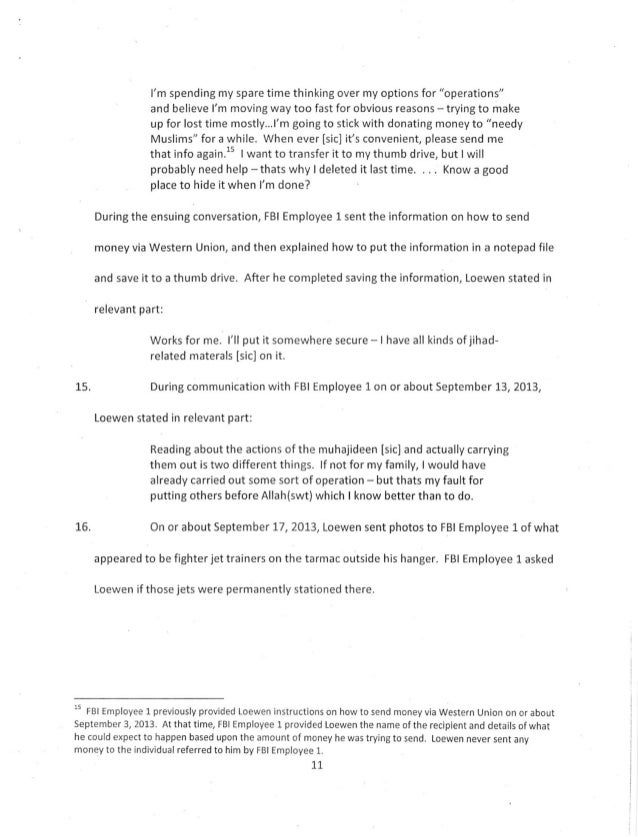 U S  vs  Terry L  Loewen Criminal Complaint Report
