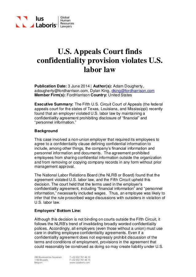 U.S. Appeals Court finds confidentiality provision violates U.S. labor law Publication Date: 3 June 2014 | Author(s): Adam...