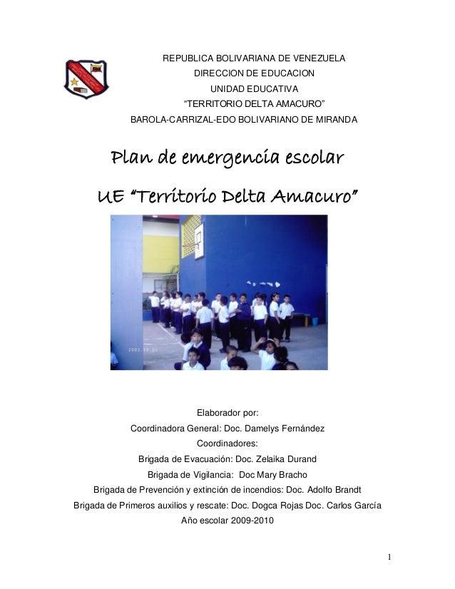 """1 REPUBLICA BOLIVARIANA DE VENEZUELA DIRECCION DE EDUCACION UNIDAD EDUCATIVA """"TERRITORIO DELTA AMACURO"""" BAROLA-CARRIZAL-ED..."""