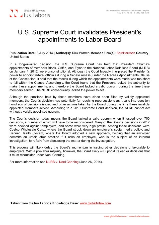 U.S. Supreme Court invalidates President's appointments to Labor Board Publication Date: 3 July 2014 | Author(s): Rick W...