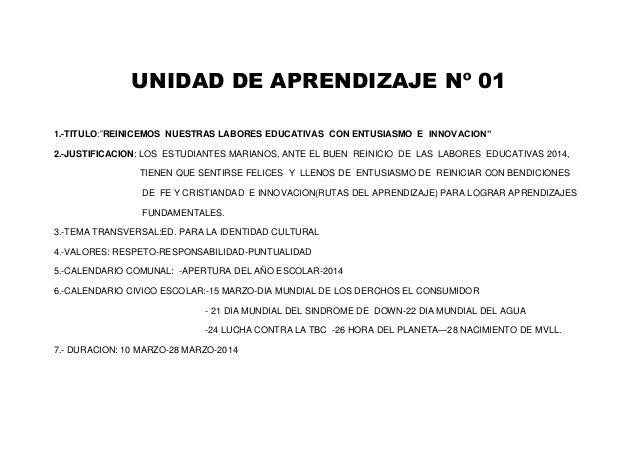 """UNIDAD DE APRENDIZAJE Nº 01  1.-TITULO:""""REINICEMOS NUESTRAS LABORES EDUCATIVAS CON ENTUSIASMO E INNOVACION""""  2.-JUSTIFICAC..."""