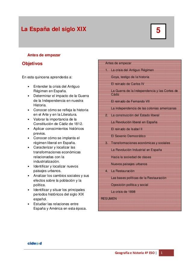 Geografía e historia 4º ESO | 1 La España del siglo XIX 5 1 Antes de empezar Antes de empezar 1. La crisis del Antiguo Rég...