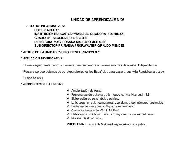 """UNIDAD DE APRENDIZAJE N°05  DATOS INFORMATIVOS: UGEL: CARHUAZ INSTITUCION EDUCATIVA: """"MARIA AUXILIADORA""""-CARHUAZ GRADO: 5..."""