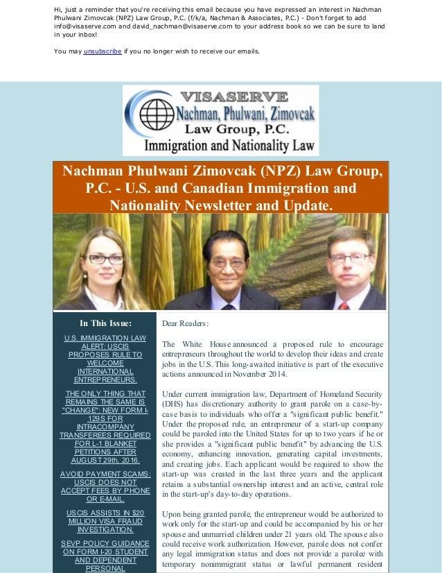 U.S. IMMIGRATION LAW NEWS AND UPDATES: International Entrepreneurs, N…
