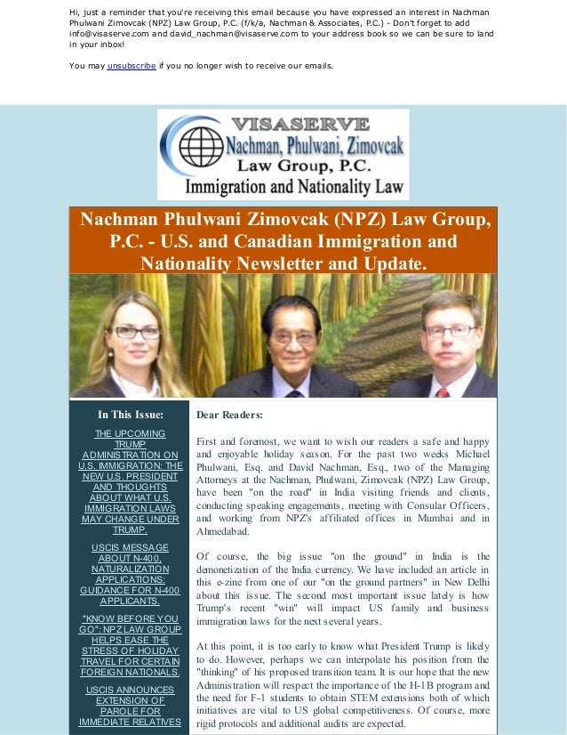 U S  IMMIGRATION LAW NEWS AND UPDATES: NPZ Lawyers Travel to