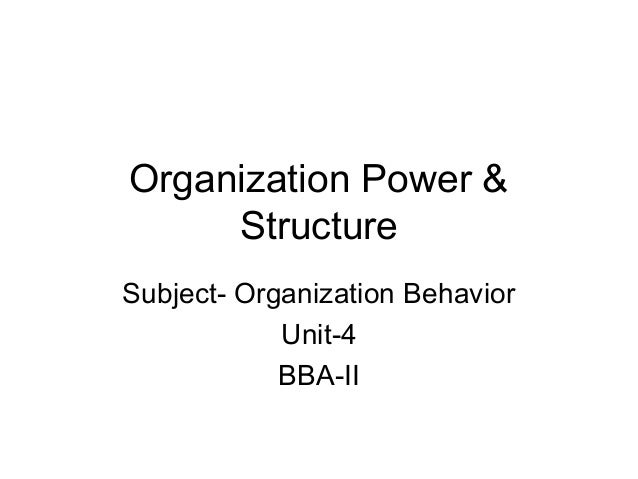 Organization Power & Structure Subject- Organization Behavior Unit-4 BBA-II