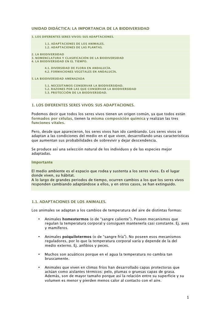 UNIDAD DIDÁCTICA: LA IMPORTANCIA DE LA BIODIVERSIDAD1. LOS DIFERENTES SERES VIVOS: SUS ADAPTACIONES.           1.1. ADAPTA...