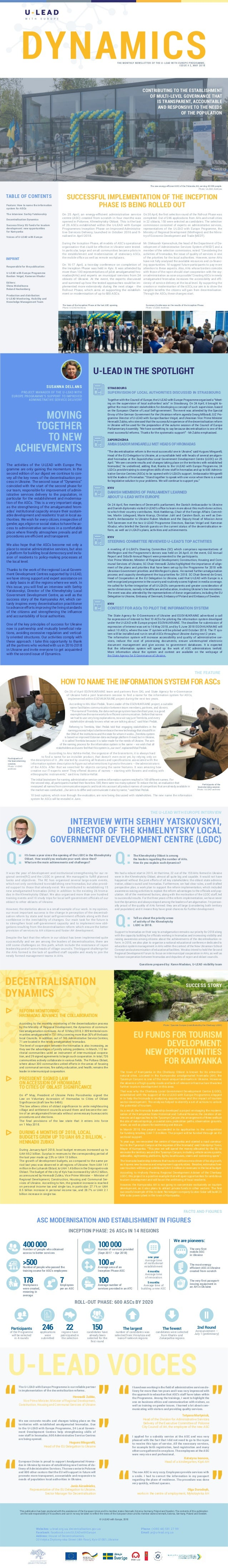 DYNAMICS SUCCESSFUL IMPLEMENTATION OF THE INCEPTION PHASE IS BEING ROLLED OUT THE MONTHLY NEWSLETTER OF THE U-LEAD WITH EU...