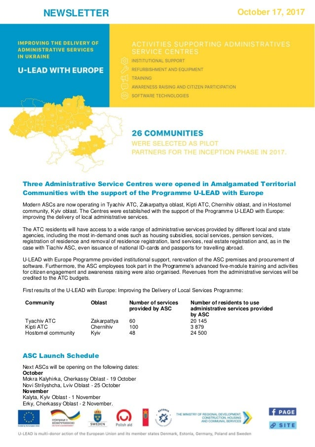 NEWSLETTER October 17, 2017 Three Administrative Service Centres were opened in Amalgamated Territorial Communities with t...