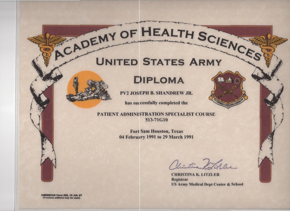 army patient administration specialist diploma for j b shandrew u s army patient administration specialist diploma for j b shandrew
