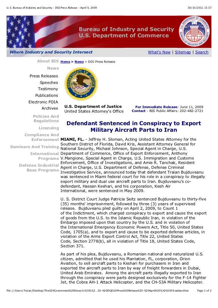 U. S. Bureau of Industry and Security - DOJ Press Release - April 9, 2009                                                 ...