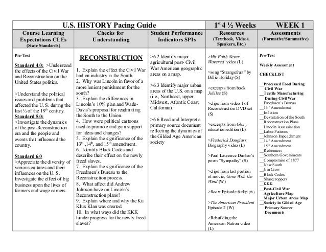 U.S. HISTORY Pacing Guide 1st4 ½ Weeks WEEK 1Course LearningExpectations CLEs(State Standards)Checks forUnderstandingStude...