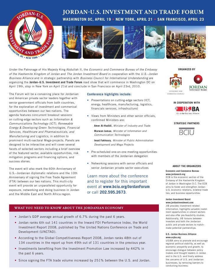 Jordan-U.S. InveStment and trade ForUm                                         Washington DC, april 19 • neW York, april 2...