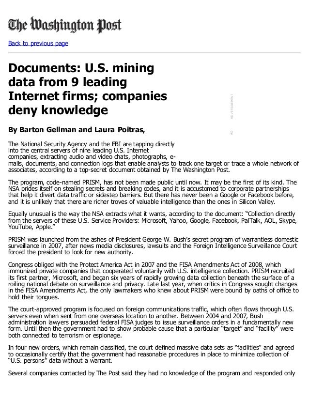Back to previous pageDocuments: U.S. miningdata from 9 leadingInternet firms; companiesdeny knowledgeBy Barton Gellman and...