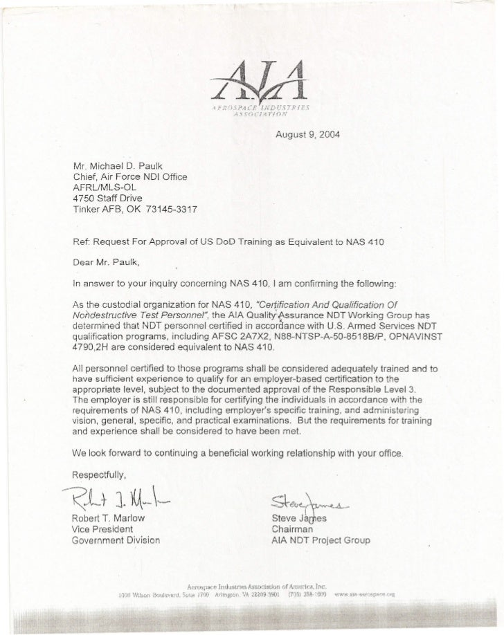 U S Department Of Defense Ndi Equivalency Letter U S