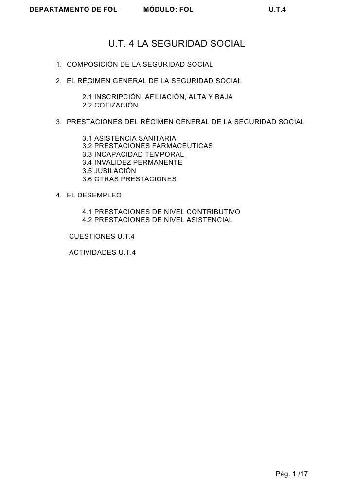 DEPARTAMENTO DE FOL         MÓDULO: FOL               U.T.4                        U.T. 4 LA SEGURIDAD SOCIAL       1. COM...