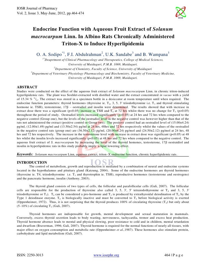 IOSR Journal of PharmacyVol. 2, Issue 3, May-June, 2012, pp.464-474          Endocrine Function with Aqueous Fruit Extract...