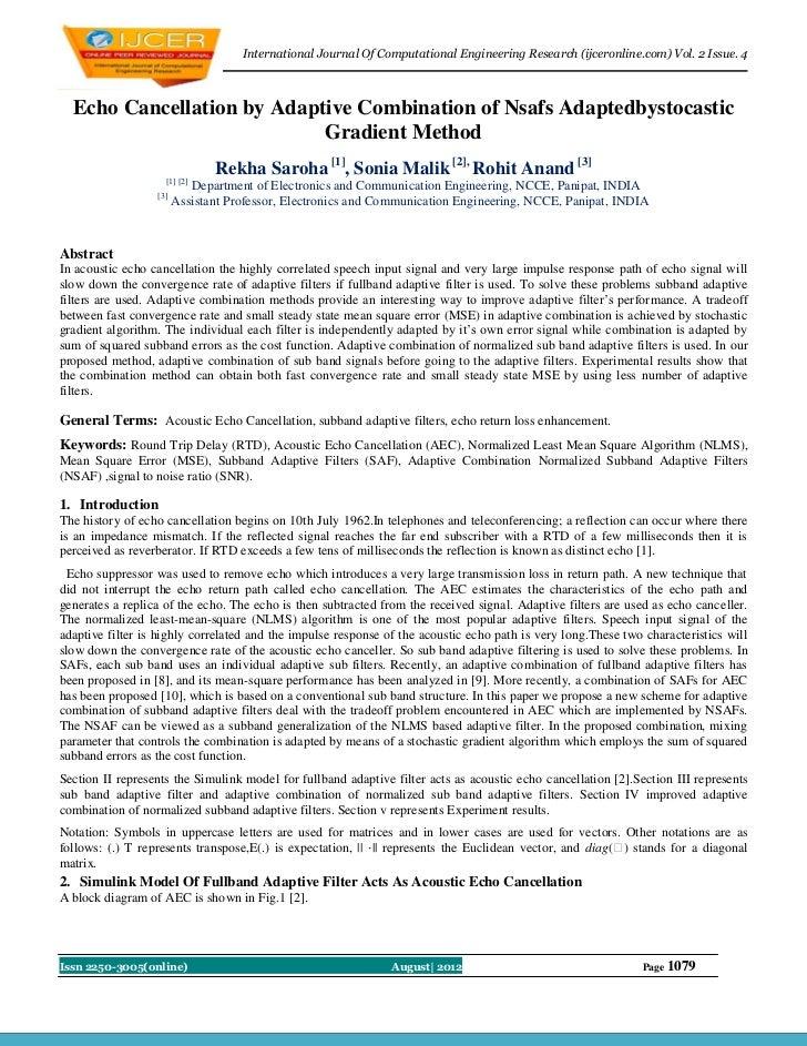 International Journal Of Computational Engineering Research (ijceronline.com) Vol. 2 Issue. 4  Echo Cancellation by Adapti...