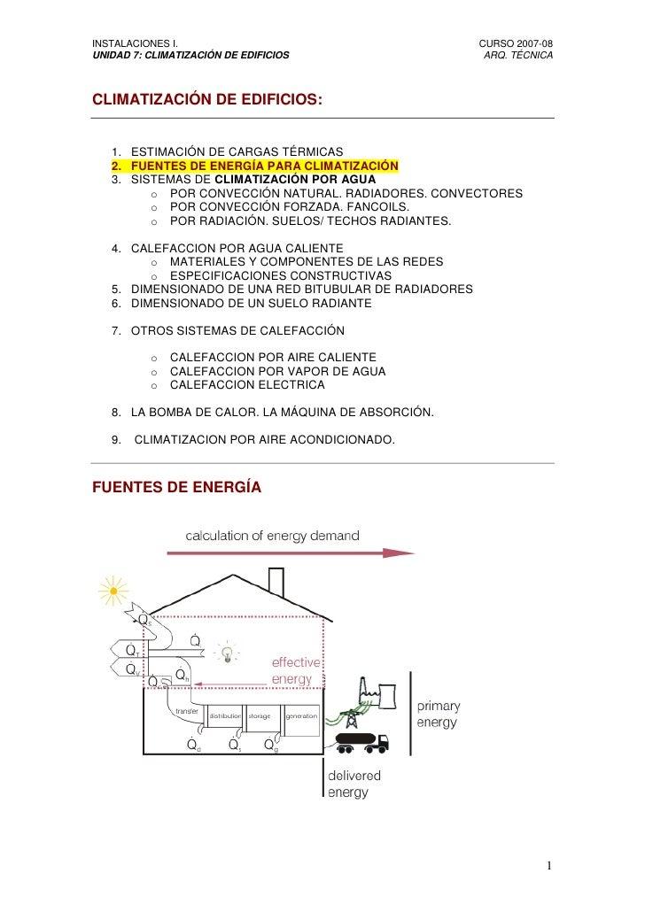 INSTALACIONES I.                                        CURSO 2007-08 UNIDAD 7: CLIMATIZACIÓN DE EDIFICIOS                ...