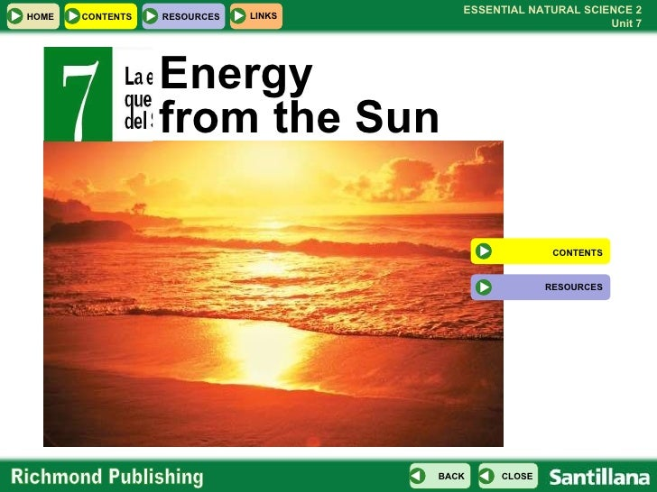 Energy  from the Sun CONTENTS RESOURCES