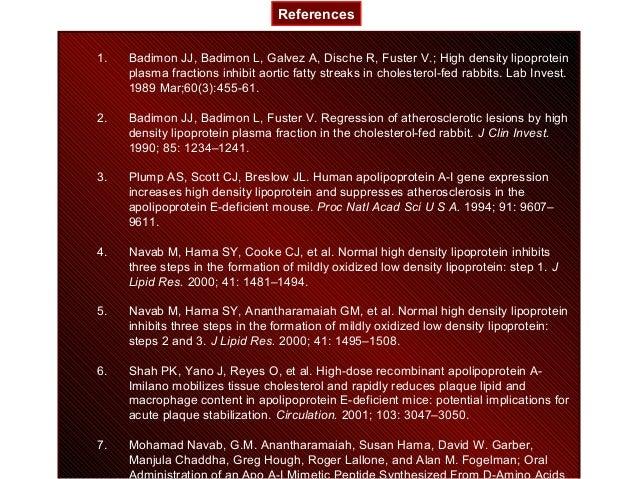 1. Badimon JJ, Badimon L, Galvez A, Dische R, Fuster V.; High density lipoprotein plasma fractions inhibit aortic fatty st...