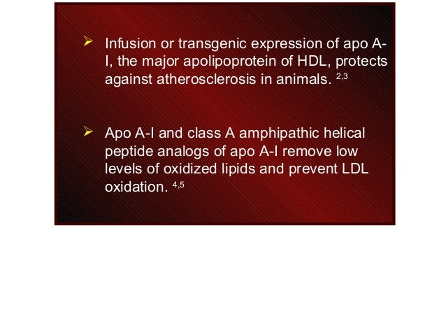  Infusion or transgenic expression of apo A- I, the major apolipoprotein of HDL, protects against atherosclerosis in anim...