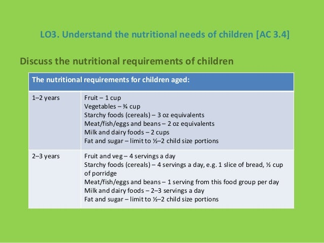 how to establish the different dietary requirements of children This memorandum explains the vegetable and fruit requirements in the child children establish healthy eating habits as they must be two different kinds of.