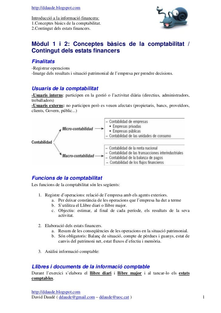 http://ddaude.blogspot.comIntroducció a la informació financera:1.Conceptes bàsics de la comptabilitat.2.Contingut dels es...