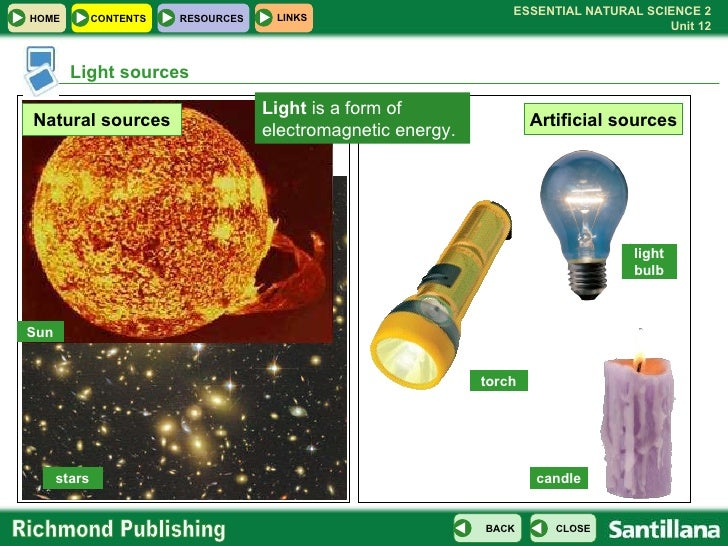 U12 Light Sound on Natural And Artificial Sources Of Light Worksheet