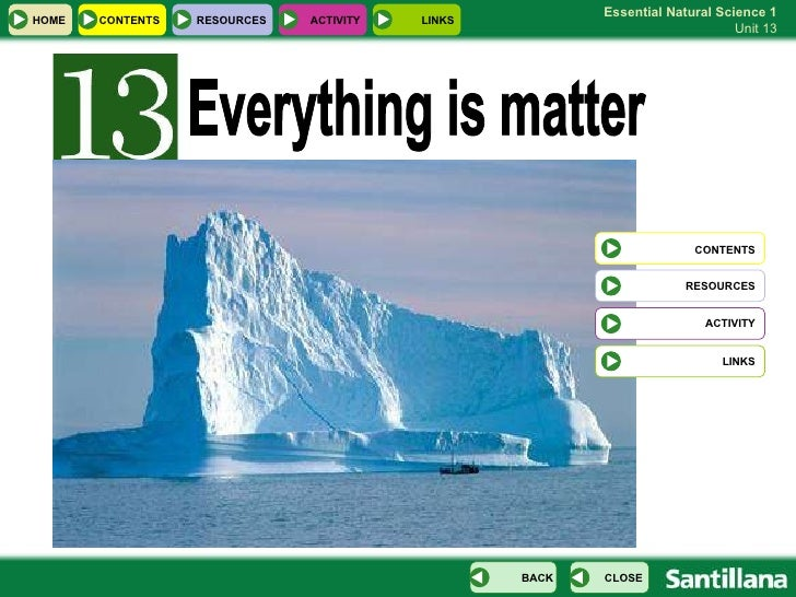 Everything is matter  CONTENTS RESOURCES ACTIVITY LINKS HOME RESOURCES ACTIVITY LINKS CONTENTS CLOSE BACK