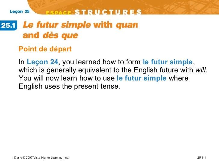 <ul><li>Point de d épart </li></ul><ul><li>In  Leçon 24 , you learned how to form  le futur simple , which is generally eq...