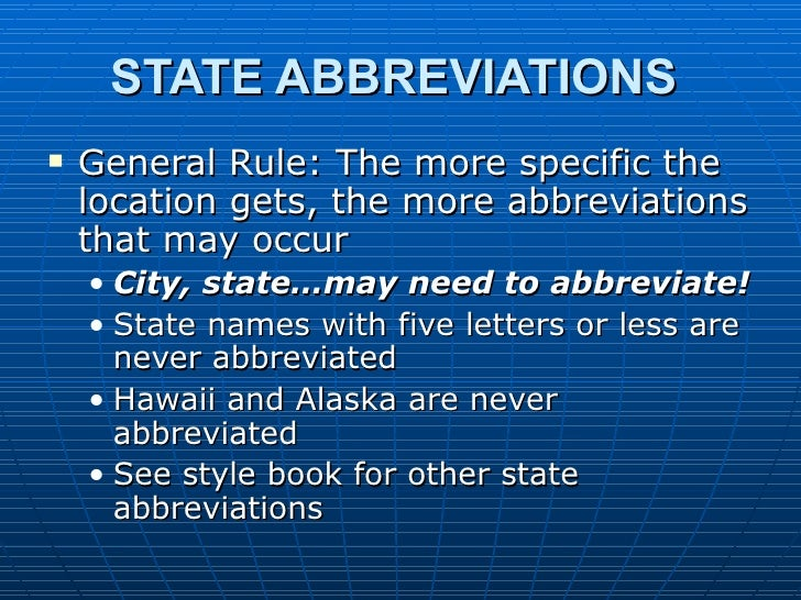 AP Style: State Name Abbreviations