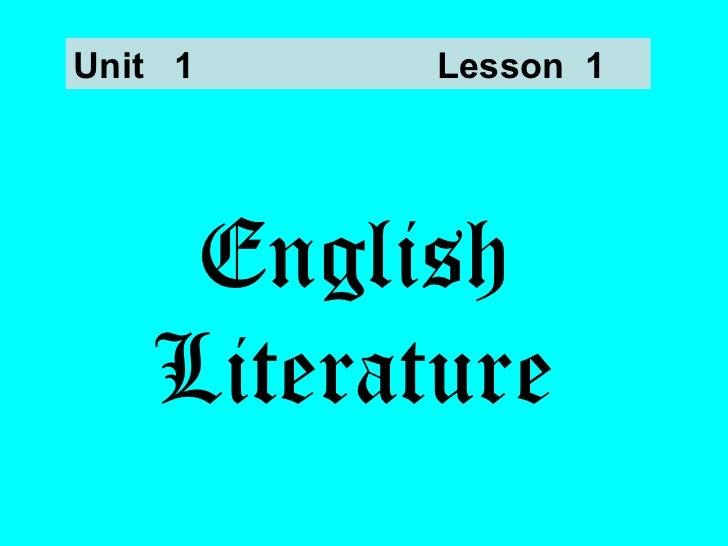 English Literature Unit  1 Lesson  1