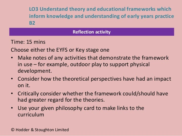 Reflection activity Time: 15 mins Choose either the EYFS or Key stage one • Make notes of any activities that demonstrate ...