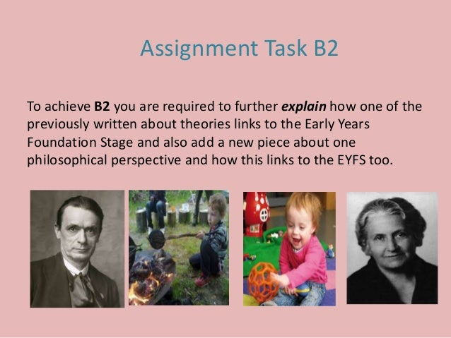 To achieve B2 you are required to further explain how one of the previously written about theories links to the Early Year...