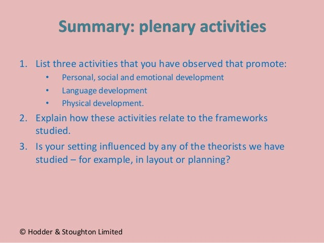 1. List three activities that you have observed that promote: • Personal, social and emotional development • Language deve...