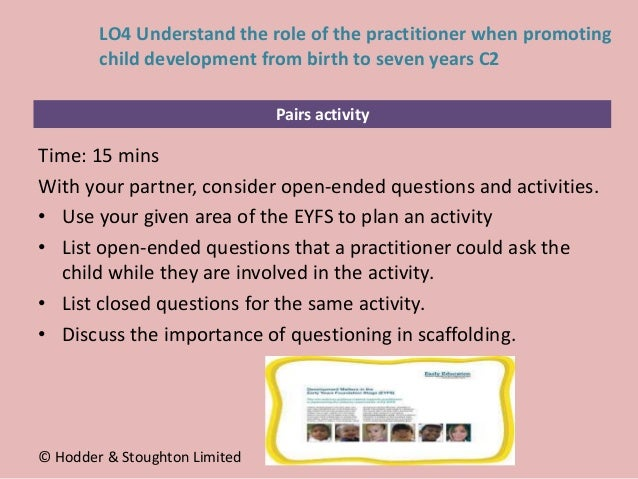 Pairs activity Time: 15 mins With your partner, consider open-ended questions and activities. • Use your given area of the...