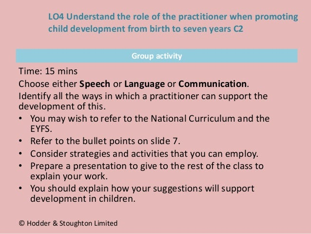 Group activity Time: 15 mins Choose either Speech or Language or Communication. Identify all the ways in which a practitio...